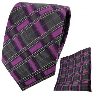 schöne TigerTie Krawatte +Einstecktuch magenta lila anthrazit silber gestreift
