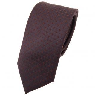 Schmale Designer Seidenkrawatte braun dunkelbraun gemustert - Krawatte Seide