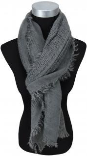 Schal in grau anthrazit einfarbig gemustert mit Fransen - Schalgröße 200 x 75 cm