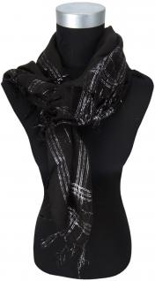 Halstuch schwarz silber mit Fransen - Glitzerfäden eingearbeitet -Gr. 90 x 90 cm