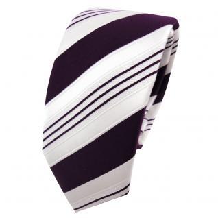 Schmale TigerTie Satin Krawatte lila dunkellila weiß silber gestreift - Binder