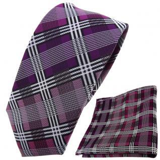 schmale TigerTie Krawatte + Einstecktuch magenta silber grau schwarz kariert