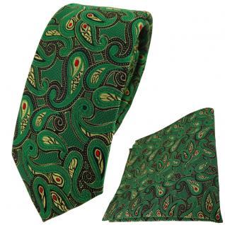 schmale TigerTie Krawatte + Einstecktuch in grün gold rot schwarz Paisley