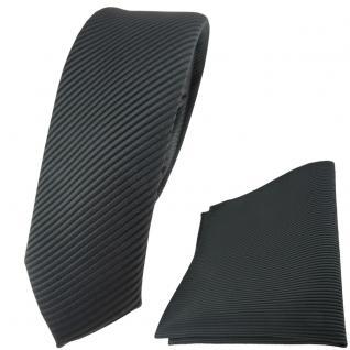 schmale TigerTie Krawatte + Einstecktuch in anthrazit dunkelgrau fein gestreift