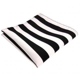 schönes Einstecktuch in schwarz weiss gestreift - Tuch 100% Polyester