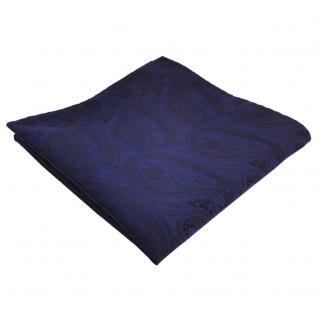 schönes Einstecktuch dunkelblau marin schwarz paisley - Tuch Polyester