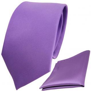 schöne TigerTie Krawatte + Einstecktuch in lila flieder einfarbig - Binder Tie
