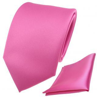 schöne TigerTie Krawatte + Einstecktuch in rosa pink uni - Binder Tie Polyester