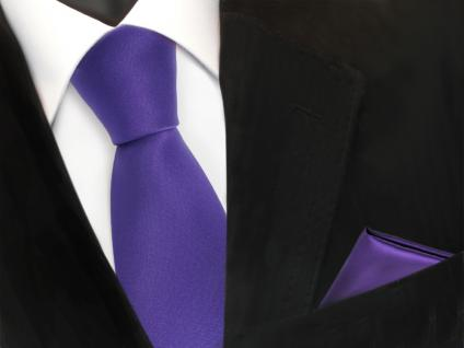 schöne TigerTie Krawatte + Einstecktuch lila violett uni - Binder Tie Polyester