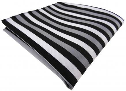 Einstecktuch in silber grau schwarz gestreift - Tuch Polyester - Gr. 25 x 25 cm