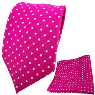 TigerTie Designer Krawatte + Einstecktuch magenta fuchsia silber gepunktet