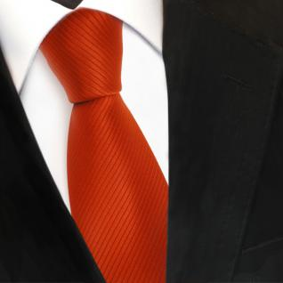 Designer Seidenkrawatte orange blutorange Uni gestreift - Krawatte Seide