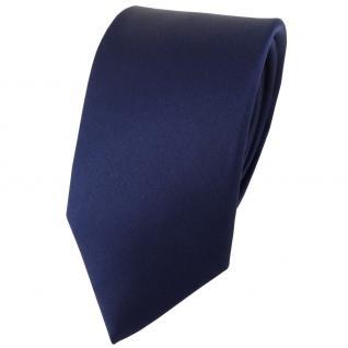 Modische TigerTie Satin Seidenkrawatte in marine einfarbig - Krawatte 100% Seide