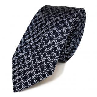 schmale Mexx Seidenkrawatte blau dunkelblau gepunktet - Tie Krawatte Silk