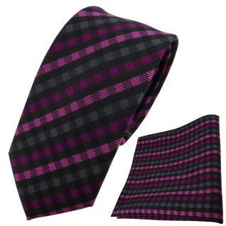 schmale TigerTie Krawatte + Einstecktuch magenta anthrazit schwarz gestreift