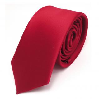 schmale TigerTie Satin Krawatte rot verkehrsrot uni Polyester - Schlips Binder