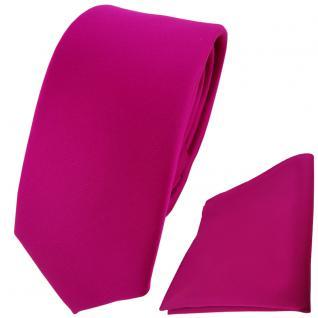 schmale TigerTie Krawatte + Einstecktuch magenta einfarbig Uni