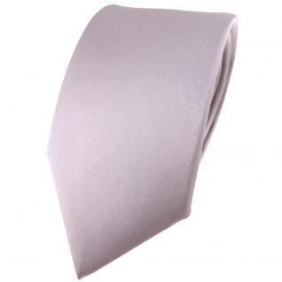 Modische TigerTie Satin Seidenkrawatte silber grau einfarbig - Krawatte Seide