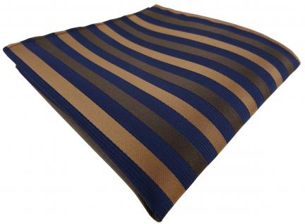 Einstecktuch in braun blau gestreift - Tuch Polyester Gr. 25 x 25 cm