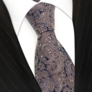 jacquardgewebte Seidenkrawatte in braun schwarz Paisley - Krawatte 100% Seide