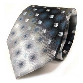 Designer Seidenkrawatte türkis blau anthrazit grau schwarz gemustert - Krawatte