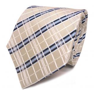TigerTie Seidenkrawatte creme elfenbein weiss blau gestreift - Krawatte Seide