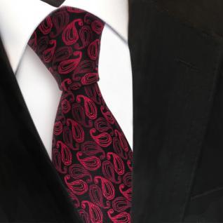 Designer Seidenkrawatte rot weinrot schwarz Paisley gemustert - Krawatte Seide