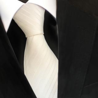TigerTie Designer Seidenkrawatte weiss cremeweiss gestreift - Krawatte Seide Tie