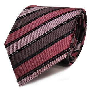Seidenkrawatte rot braun schwarz silber gestreift - Krawatte Seide Binder Tie
