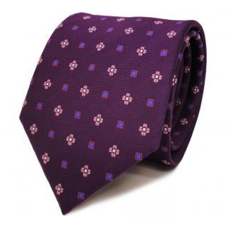 Designer Krawatte lila purpur violett rosa blau gemustert - Schlips Binder Tie