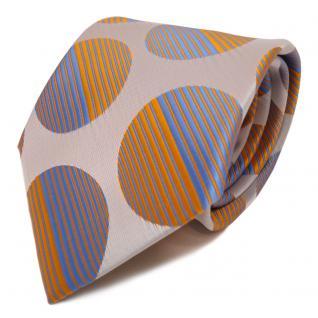 Designer Krawatte blau orange tieforange silber grau gepunktet - Schlips Binder