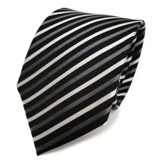 Designer Seidenkrawatte schwarz anthrazit silber grau gestreift - Krawatte Seide