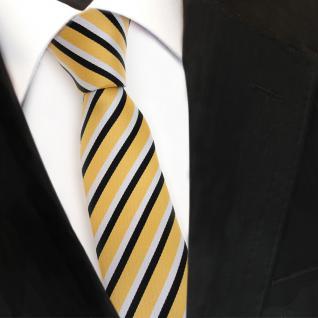 Schmale TigerTie Designer Krawatte - gold schwarz weiss gestreift