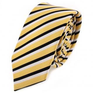 Schmale TigerTie Designer Krawatte - Schlips Binder schwarz weiß gold gestreift