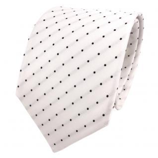 TigerTie Designer Seidenkrawatte weiß creme schwarz gepunktet - Krawatte Seide