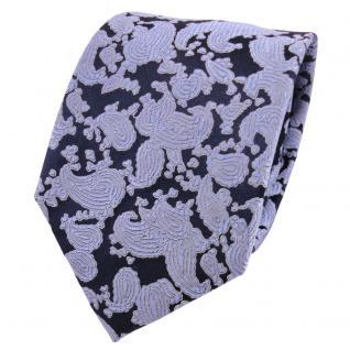Designer Seidenkrawatte blau royal grau Paisley gemustert - Krawatte Seide Silk