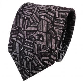 TigerTie Lurex Seidenkrawatte schwarz silber anthrazit gemustert- Krawatte Seide