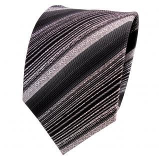 TigerTie Lurex Seidenkrawatte schwarz silber anthrazit gestreift- Krawatte Seide