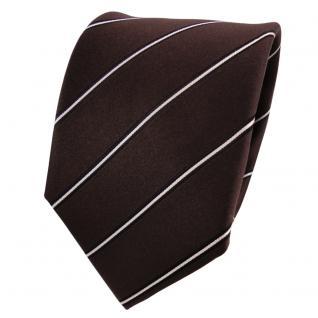 Designer Seidenkrawatte braun dunkelbraun weiß schwarz gestreift- Krawatte Seide