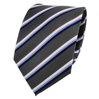 Designer Krawatte grau dunkelgrau anthrazit blau weiß gestreift - Schlips Binder