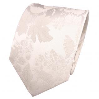 TigerTie Designer Seidenkrawatte creme weiß perlweiß gemustert - Krawatte Seide