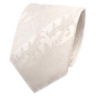 Designer Seidenkrawatte weiß perlweiß creme gestreift - Krawatte Seide Silk