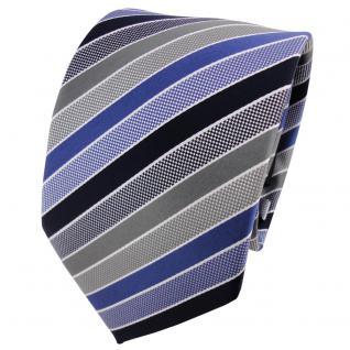 TigerTie Designer Krawatte blau dunkelblau grau silber gestreift - Binder Tie