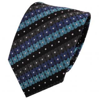 TigerTie Krawatte türkis blau schwarz anthrazit silber gestreift- Binder
