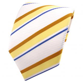 TigerTie Satin Krawatte weiß signalweiß gelb ocker blau gestreift - Binder Tie