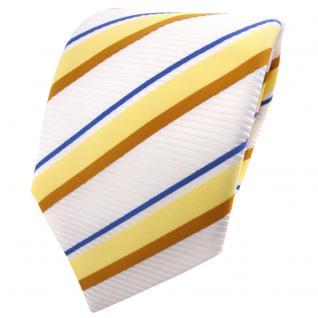 TigerTie Satin Krawatte gelb ocker blau weiß signalweiß gestreift - Binder Tie