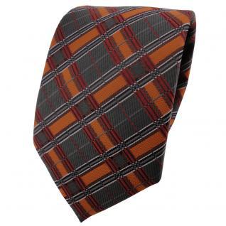 TigerTie Krawatte orange dunkelorange anthrazit silber schwarz kariert - Binder