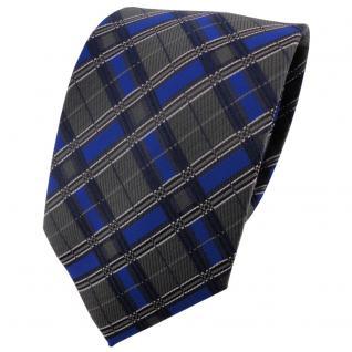 TigerTie Krawatte blau royal anthrazit silber schwarz kariert - Binder Schlips
