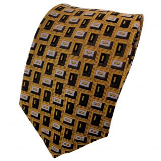 TigerTie Seidenkrawatte gold anthrazit schwarz silber gemustert - Krawatte Seide