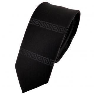 schmale Krawatte in schwarz anthrazit uni bordürenmuster - Krawatte Binder Tie